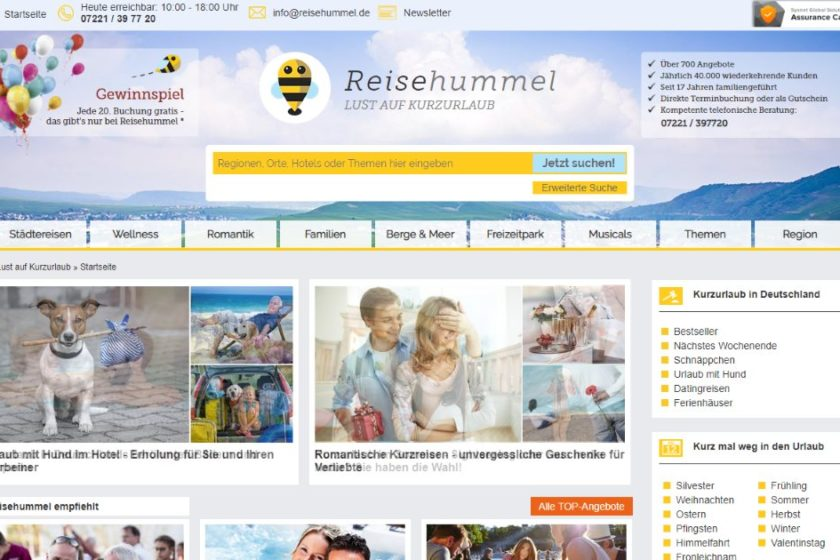 Reisehummel.de Screenshot